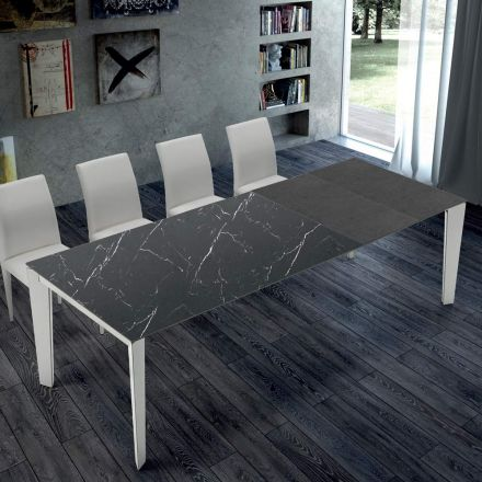 Extendable Kitchen Table in Marble and Steel Made in Italy – Settanta
