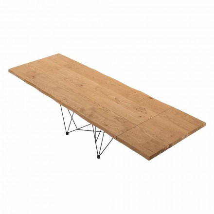 Extendable Table up to 300 cm in Venereed Wood Made in Italy – Ezzellino