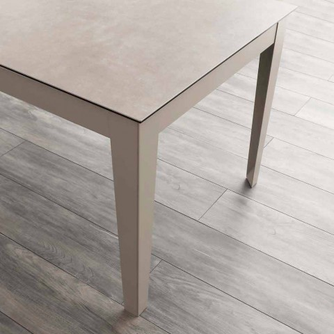 Cagliari extendable table up to 380 cm in glass ceramic and metal