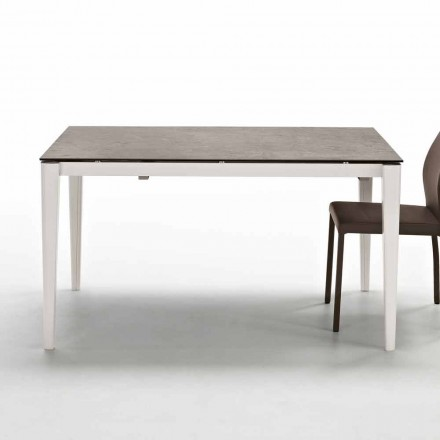 Modern extending dining table up to 210 cm with glass-ceramic top Five