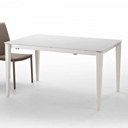 Modern extendable table up to 210 cm with glass top Five,modern design