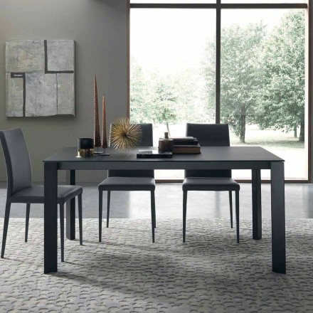 Extendable Table Up to 250 cm with Glass Top Made in Italy - Pitagora