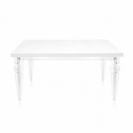 Extendable Table Up to 255 cm in Transparent Plexiglass and White Wood - Fabo