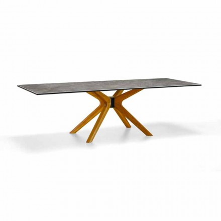 Extendable Table Up to 260 cm in Stoneware and Wood, Luxury Made in Italy - Malita