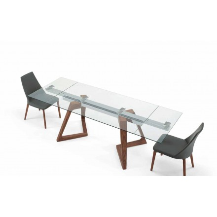 Glass and Venereed Wood Extendable Table up to 280 cm – Eugrafo