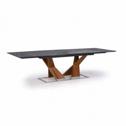 Extendable Table Up to 294 cm with Top in Gres Made in Italy - Monique