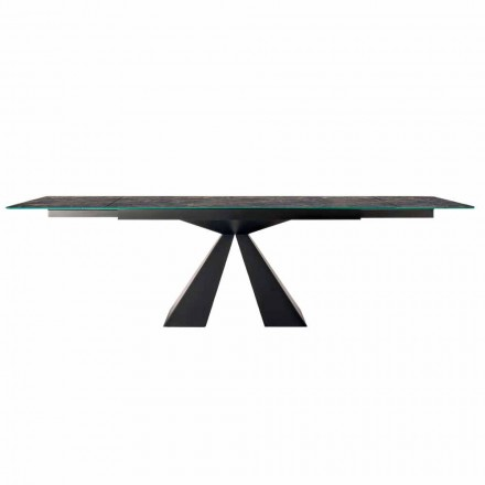 Extendable Table Up to 300 cm in Hypermarble and Steel Made in Italy - Dalmata