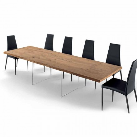 Extendable Table up to 300 cm in Venereed Wood and Glass – Strappo