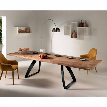 Extending table Travis, oak veener and black metal, modern design