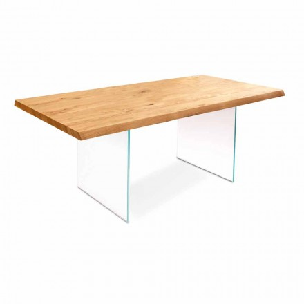 Extendable dining table made of venereed oak wood and glass - Nico