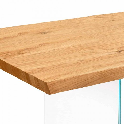 Extendable table in oak veneer with Nico glass legs