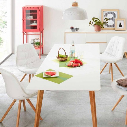 Modern wooden extendable table with white top Giorro