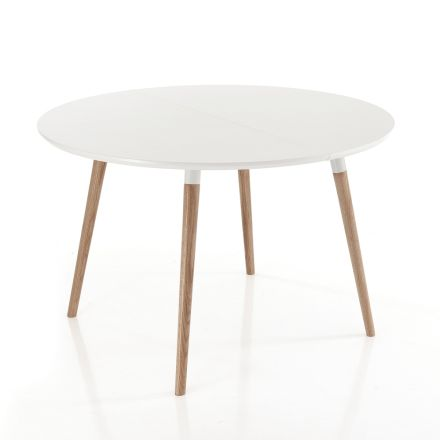 Extendable wooden dining table, with white top Ian