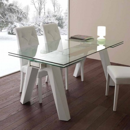Extending dining table Florida, made of glass and white metal
