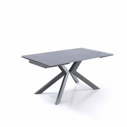 Design extendable table in glass and metal – Piersilvio