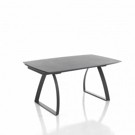 Extendable glass table in stone finish and metal – Willer