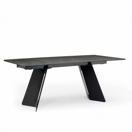 Modern extendable table with stoneware top made in Italy, Erve