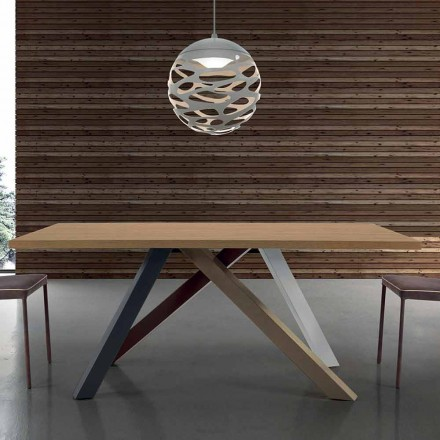 Modern Extendable Table with Laminated Wood Top Made in Italy – Settimmio