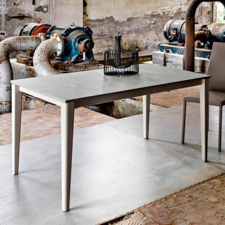 Modern design extending dining table with concrete finish top Five