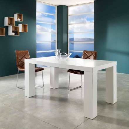 Modern design extendable dining table Demy, lacquered white finish