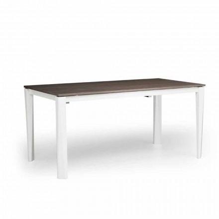 Modern extending table in white ash, produced in Italy, Medicina