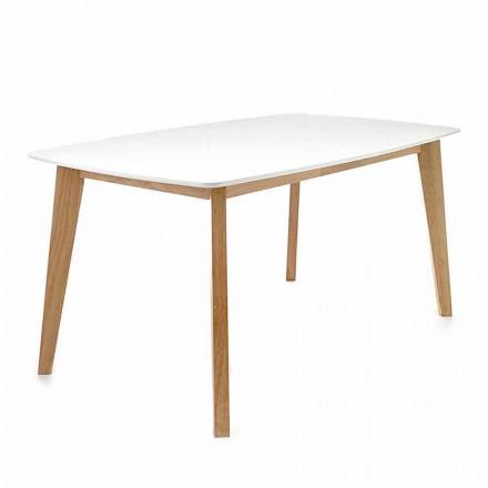 Modern extendable table in matt white Mdf – Amoris