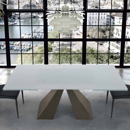Modern Extendable Table in Glass and Steel 14 Seats Made in Italy – Dalmata