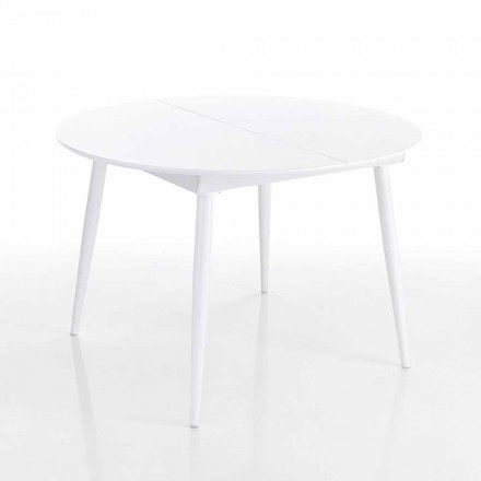Round extendable dining table in white Mdf – Ismaele