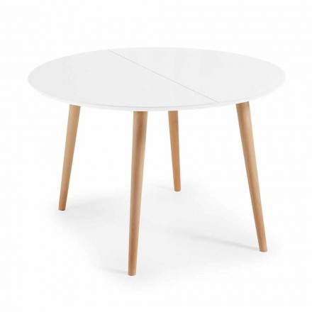 Round extendable wooden table Upama, white top, Scandinavian design