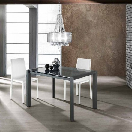 Modern extendable dining table made of tempered glass Zeno