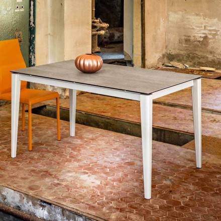 Extending dining table made of glass-ceramic 80x130(+2x40)cm Five