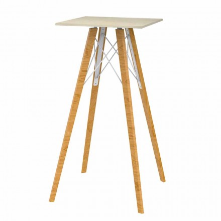 Square High Bar Table in Wood and Marble Effect 4 Pieces - Faz Wood by Vondom