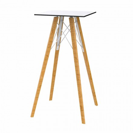 Square Design High Bar Table in Wood and Hpl, 4 Pieces - Faz Wood by Vondom