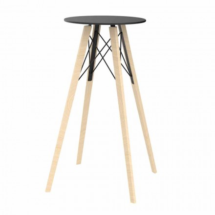 Round Design High Bar Table in Wood and Hpl, 4 Pieces - Faz Wood by Vondom