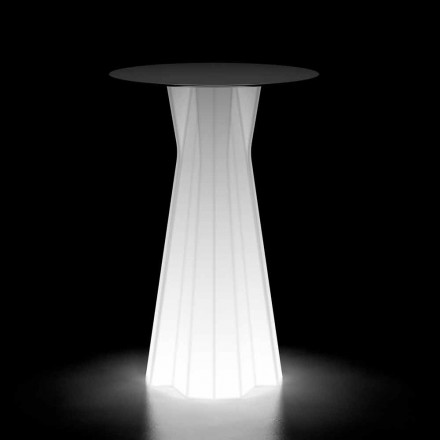 Luminous Outdoor Table with LED Base and Hpl Top Made in Italy - Tinuccia