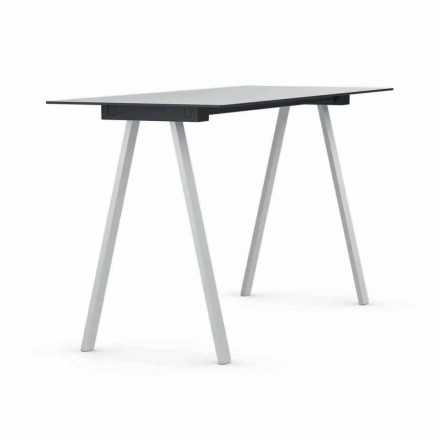 Outdoor High Table in Metal and Rectangular HPL Made in Italy - Devin