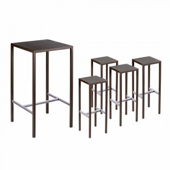 Bar Table with 4 Outdoor Stools in Painted Metal Made in Italy - Fada