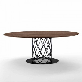 Nora table with elliptical top in thermoformed oak MDF 108x200 cm