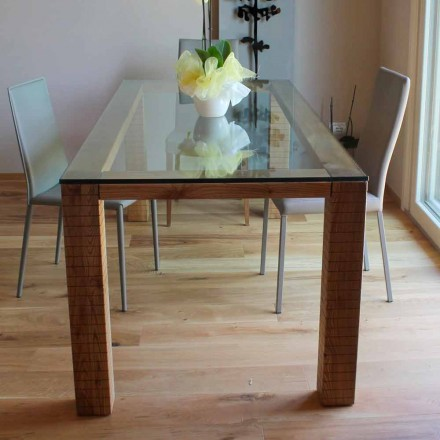 Table with Crystal Top and Modero Ash Wood Made in Italy - Asella