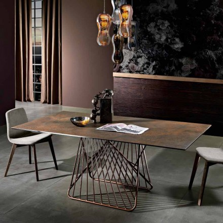 Modern table with glass-ceramic surface made in Italy, Mitia