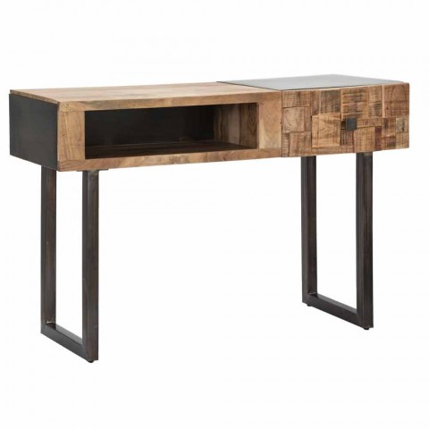 Iron and Acacia Wood Console Table with Design Drawer - Dena