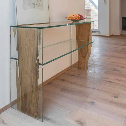 Console table Fenice, made of Venetian Briccola wood and glass
