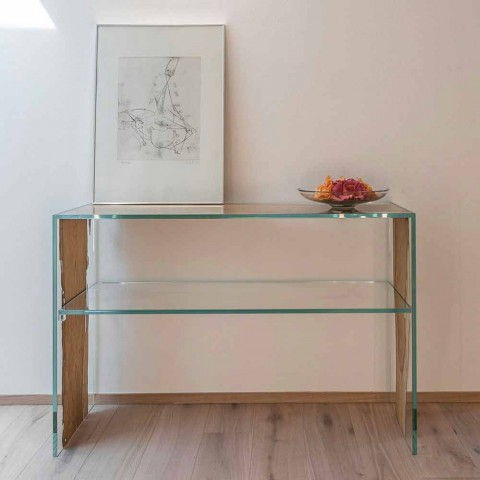 Console table in Venetian briccola wood and Fenice glass