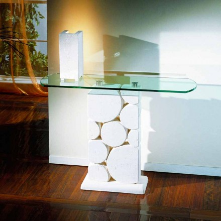 Classic console table made of Vicenza natural stone and crystal Hosios