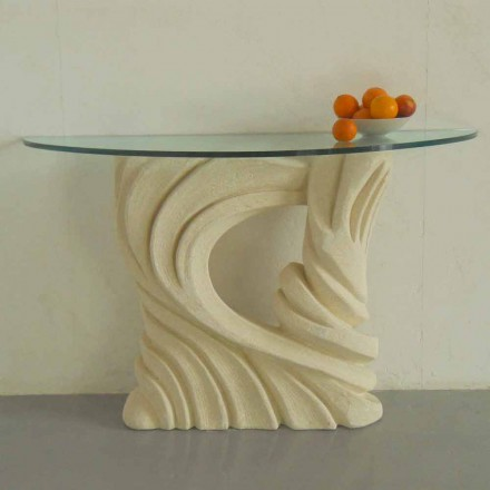 Console table made of Vicenza natural stone with crystal top Emera