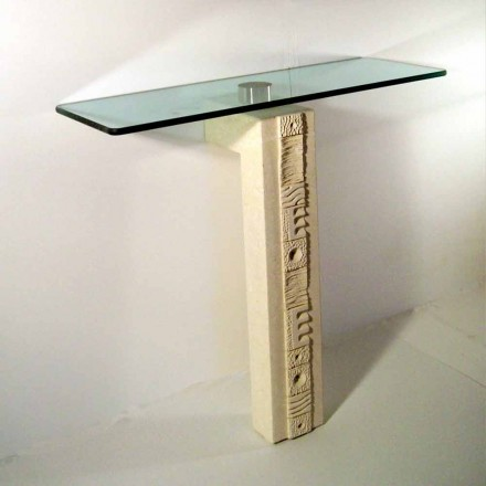 Designer console table made of natural stone with crystal top Abidos