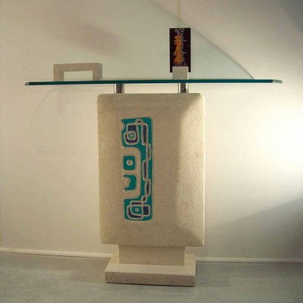 Modern console table with crystal top and natural stone base Soter