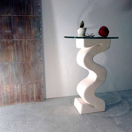 Round console table made of crystal and natural stone Babylas