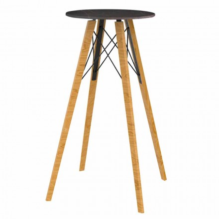Round High Bar Table in Wood and Marble Effect 4 Pieces - Faz Wood by Vondom