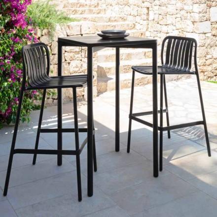 Trocadero outdoor bar table by Talenti, 60x60 in aluminum